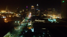 View from the top of Fenn Tower at night. Great view of the city.