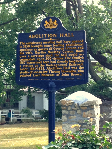 State Historic Marker at the Corson Homestead on Butler Pike, just north of Germantown Pike, Whitemarsh Township.