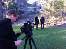 Recording David Turner and Bruce MacKenzie (original architect and landscape architect) on site last week.