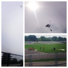 President of the IMS sky diving into the track? Just another day at the office...