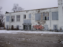 Abandoned building near Roosevelt Ave. south of 16th offers blank canvas.