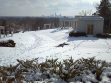 Skyline view from highest point in Crown Hill Cemetery....and making snow angels