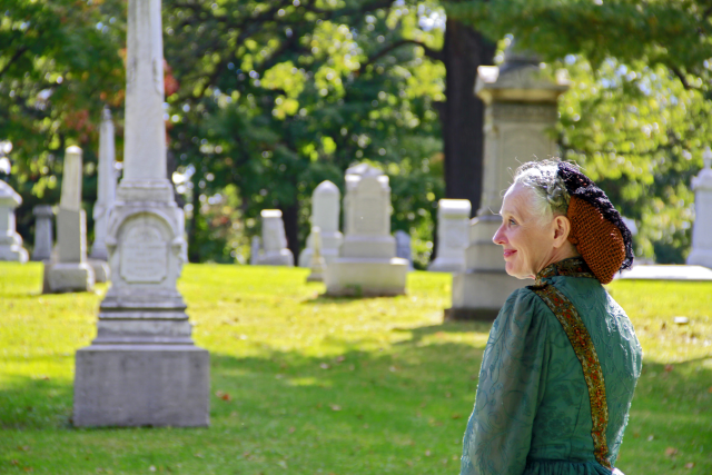 Beautiful Evergreen Cemetery during the Evergreen Cemetery walk.  and the lovely Kathleen Kirk!
