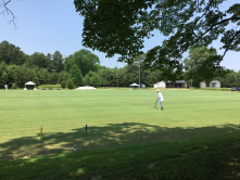 Practicing on an 8 lawn croquet facility in Virginia