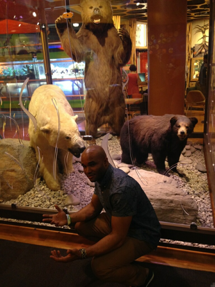 Enjoying a rare squat with the bears at Discovery Place.