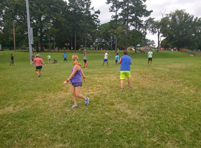20's and 30's CityChurch Group playing Ultimate Frisbee on a Sunday afternoon in Veterans Park.