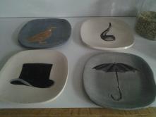 Plates made at the Ridge Park Ceramics class.