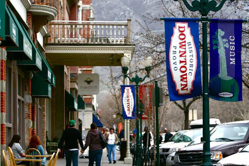 Downtown Provo. Pedestrians can walk to multiple places without many driveways. The trees and wide, clear sidewalks are inviting