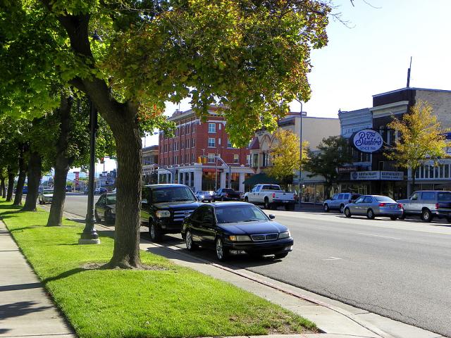 Downtown Logan, UT; Walkable, lots of shops, open spaces, outside dining along sidewalk, wide sidewalk