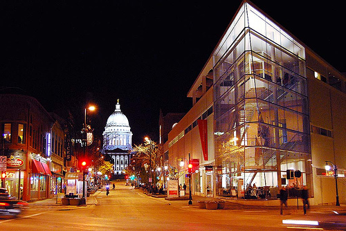 I love State Street in Madison, WI.  I love the mixture of uses and the way it become the social hub of the city.