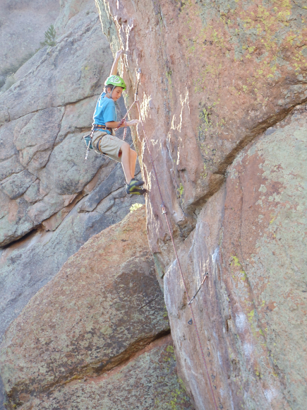 Gordon Anderson on Like Father Like Son 5.12d at age 11.  Photo: Todd Leeson