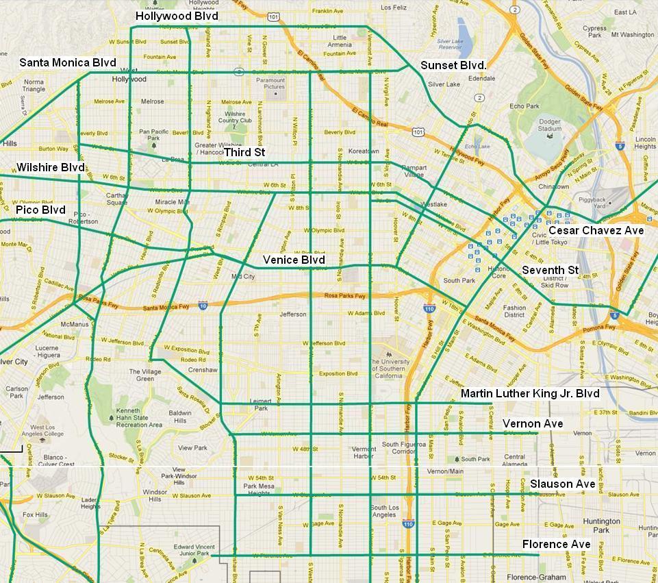 Transit-Enhanced Network: East-West Streets in Central LA
