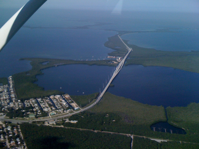 Aerial view  Jewfish Bridge(?) with 18 mile stretch in the background and Key Largo in the forefront. I have left the mainland.