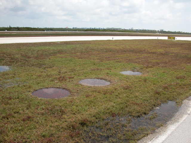 Key West Airport Saltwater Rising Out Of Storm Drains