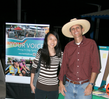 Your Voice Volunteer Joyce Cao and Bayer Vella at the Halloween Fest at the Aquatic Center on 10/26/13