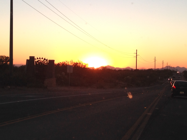 On Tangerine Road by OV town sign at sunset.