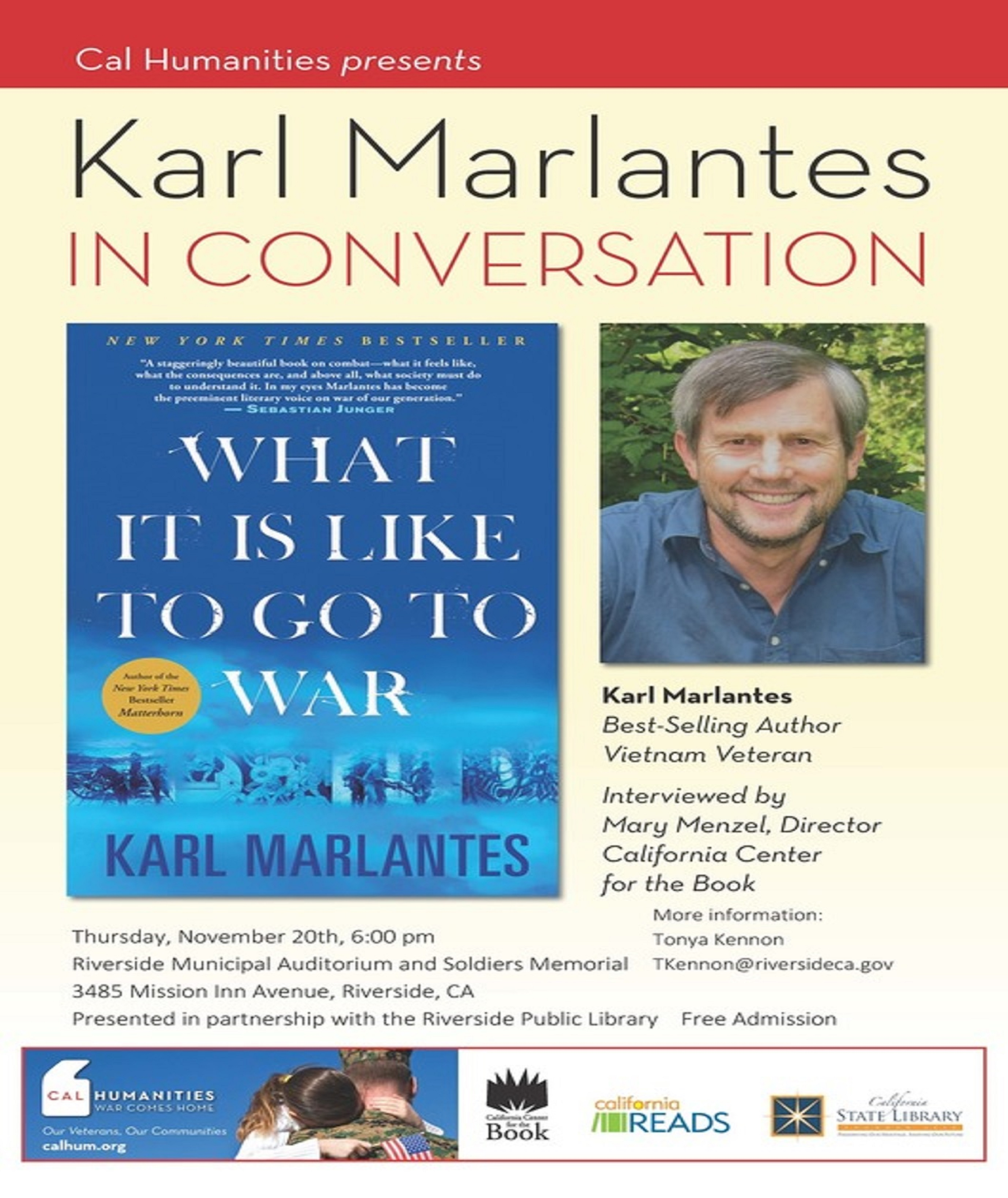 Karl Marlantes, author of What It Is Like to Go to War, to speak in Riverside Nov. 20. Let's start the conversation now!