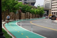 "Protected bike lanes!!! Create ""spokes"" around downtown to bring commuters in via bikes."