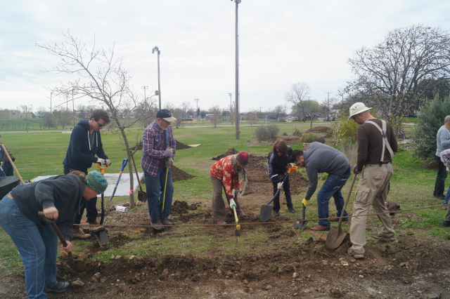 Green Spaces' volunteers working to convert a landscape using LID techniques: Now it retains the rainwater.