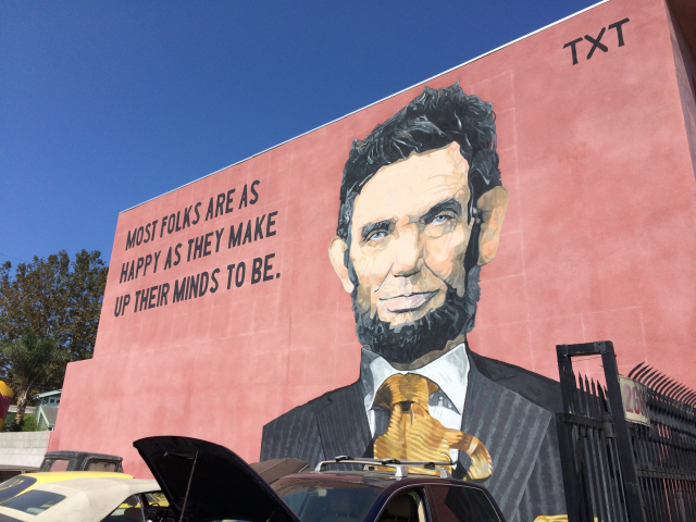 """Beautify Earth's """"Linc on Linc"""" mural is on the side of Legal Grind at 2641 Lincoln Blvd near Hill Place."""